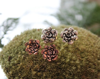 Succulent Earrings / Silver Succulent Earrings / Succulent Jewelry / Succulent Studs / Plant Jewelry / Botanical Jewelry / Plant Lover