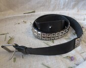 Black metalic belt vintage belt 36 in non leather black poliyrethan with metal in silver color with metal buckle gift for woman girl 92 cm