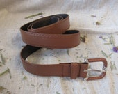 Brown long belt 114 cm or 45 in metal buckle with brown decor non leather belt with decorative brown colored metal buckle