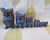 Wood owl family, vintage blue birds figurines, hand painted 6 owls