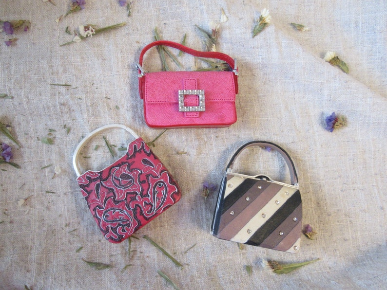 Miniature collectable purse small decorative bag figurines with glass decors pink mini purse Raine brown striped bag figurine collectable