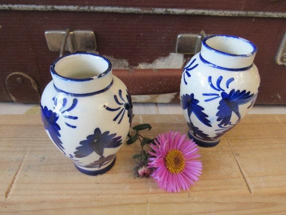Set Of Two Ceramic Vases Small White And Cobalt Blue Vase Etsy