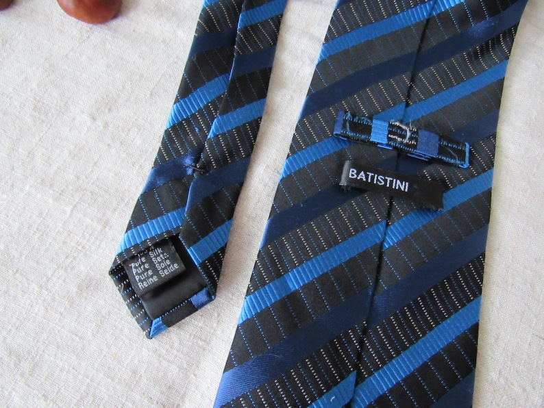 Italian silk tie Vintage Batistini pure silk blue necktie
