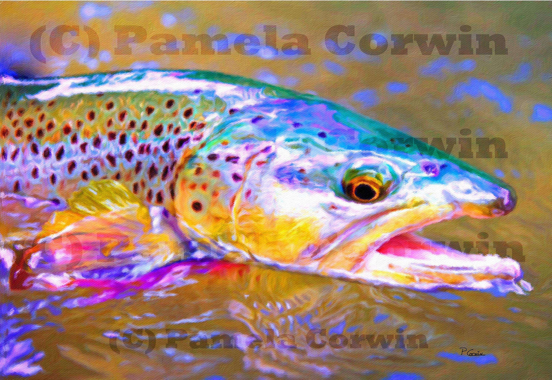 bunte Bachforelle Druck auf Leinwand Malerei: Fliegenfischen   Etsy