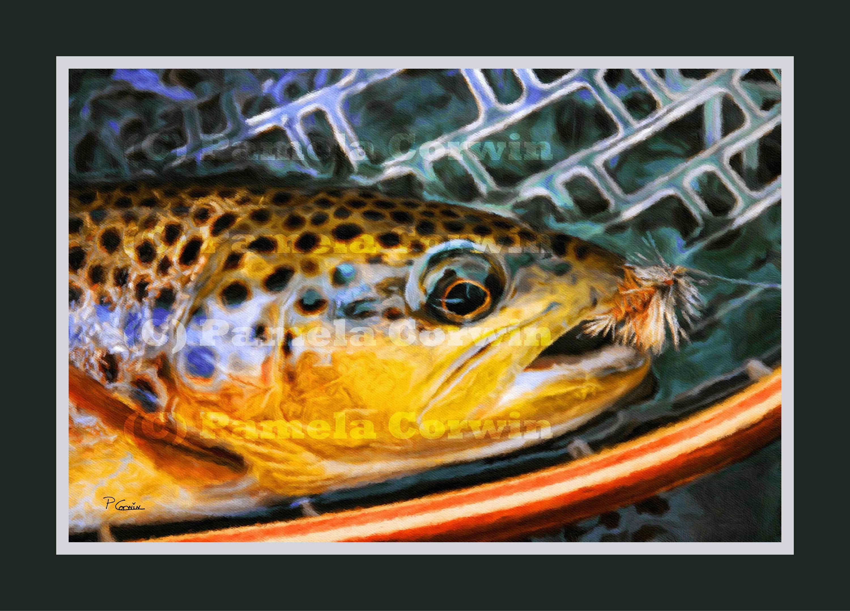Bachforelle in Holz Netto-Druck: Fliegen Fischen Kunst   Etsy