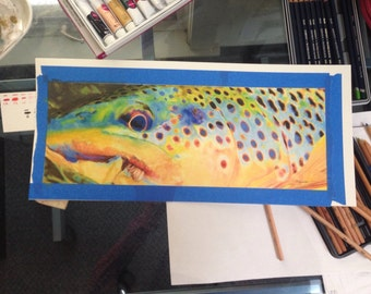 """Brown Trout with fly colorful Original watercolor painting: Fly Fishing watercolor with brown trout original art 16.5x6"""" Trout up close"""