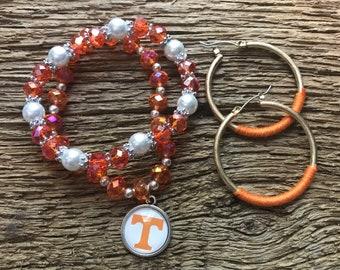 Tennessee Volunteers bracelet and earrings set: orange and pearl bracelets, UT bracelets, UT earrings, Vols bracelet, Vols earrings, Vols