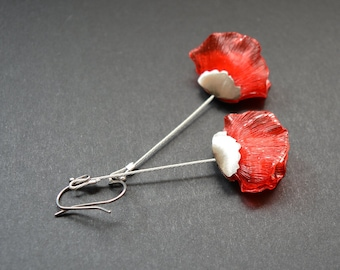 Eco friendly earings red poppy