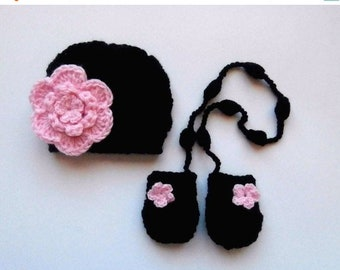 9aad0daef6bc6 ON SALE 10 % SALE Baby Girl Winter Hat and Mittens , Baby Girl Outfit , Toddler  Winter Beanie and Mittens , Newborn Baby Girl Winter Outfit