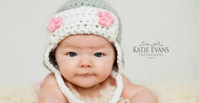 a9d3f32fba702 Crochet Baby Girl Aviator Hat , Ear Flap Hat , Baby Hat Photo Prop , Baby  Girl Hat , Crochet Flower Hat ,Photo Prop