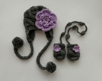 Toddler Baby Girl Winter Outfit_Knitted Toddler Hat and Mittens_Baby Girl Winter Hat and Mittens_Baby Girl Winter Outfit
