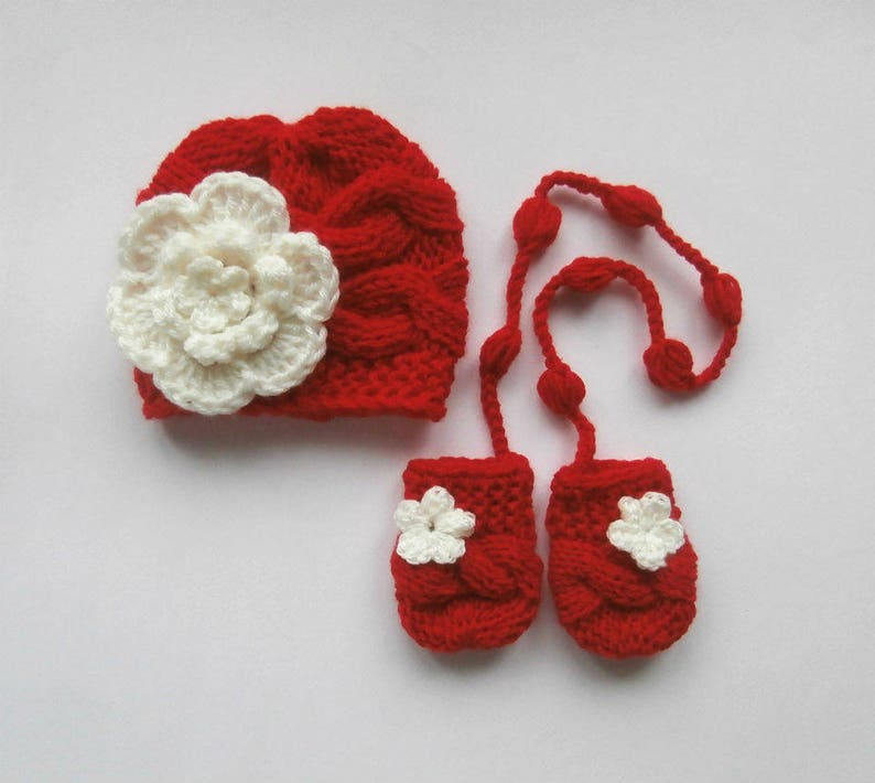 4c32c253d Baby Girl Hat and Mittens - Newborn Girl Winter Outfit - Hospital Baby  Outfit- Baby Photo Prop -Knit Hat and Mittens