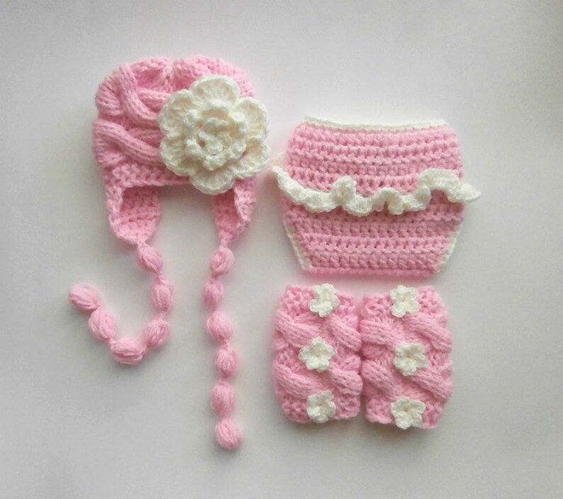 Baby Girl Knit Outfit Baby Girl Hat Photography  Prop Set Diaper Cover and Leg Warmers Baby Girl Coming Home Outfit