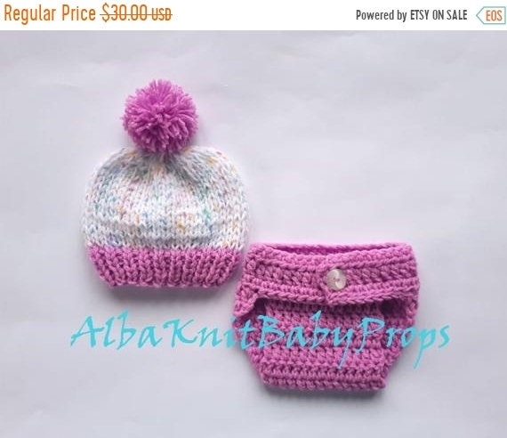 5113dbb09a8 50% CLEARANCE SALE Knit Baby Hat and Diaper Cover Baby Girl