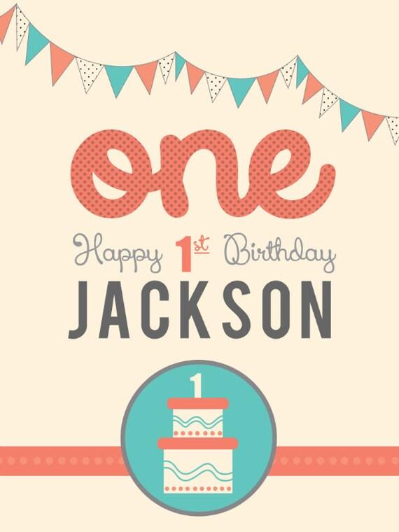 Happy 1st Birthday Banner With Cake Etsy