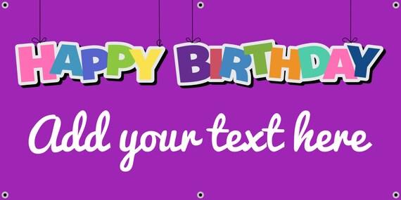 purple happy birthday banner etsy