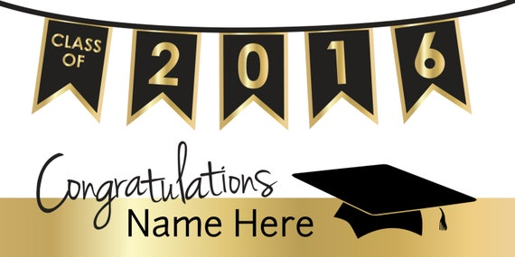 black and gold congratulations graduation banner with cap etsy