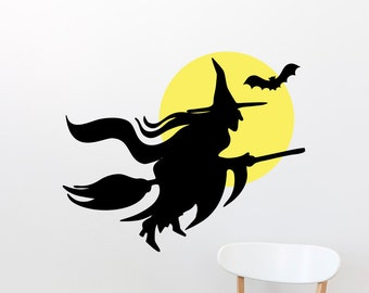 Flying Witch On Broomstick With Moon and Bat Halloween Wall Sticker