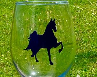 Saddlebred Wine Glass, Horse Gift, Birthday Gift