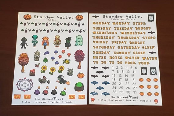 Fall Calendar Stardew.Stardew Valley Fall Bullet Journal Stickers Weekday Labels Bullet Points Fall Stickers 2 Sheets