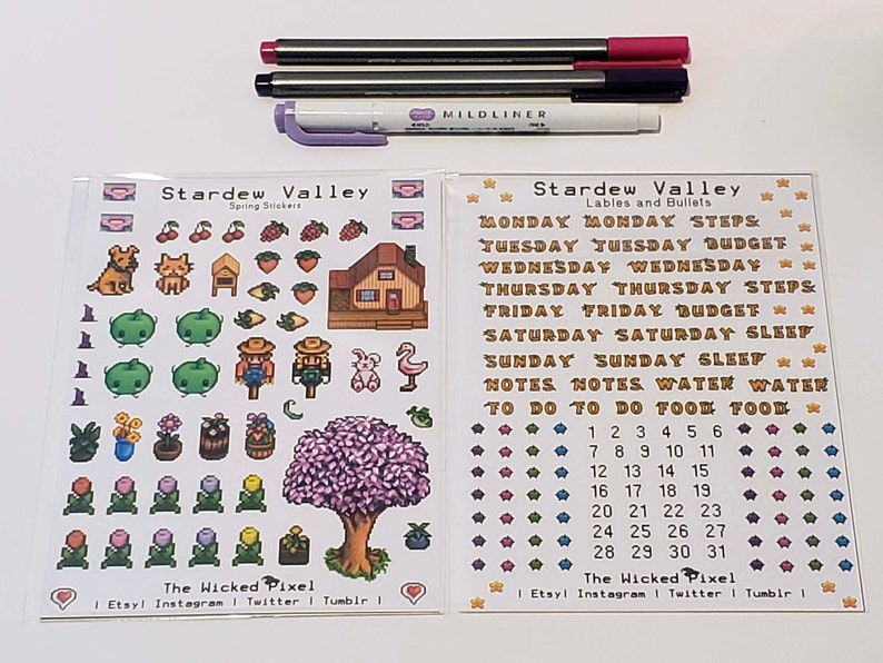 Stardew Valley Spring Bullet Journal Stickers   Weekday labels, bullet  points, Spring stickers   2 sheets