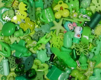 GREEN TRINKETS (20) for color sorting activities, color matching,  and other educational games.