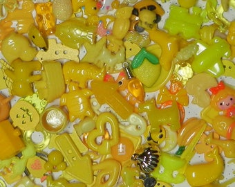 YELLOW TRINKETS (20) for color sorting activities, color matching,  and other educational games.