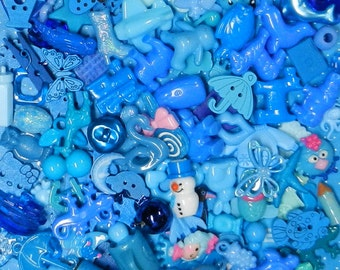 BLUE TRINKETS (20) for color sorting activities, color matching,  and other educational games.