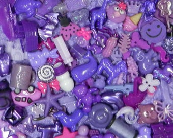 PURPLE TRINKETS (20) for color sorting activities, color matching,  and other educational games.