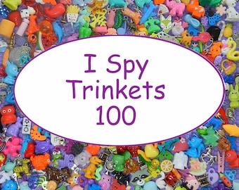 "SMALL TRINKETS (100) for I spy bags, I spy bottles, sensory bins, games, teaching, 1"" toys, tiny toys, small toys, No Duplicates!"