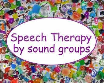 SLP, Speech Therapy sets by SOUND GROUPS, small trinkets, Articulation, Phonology, Montessori, Small objects for speech therapy, preschool