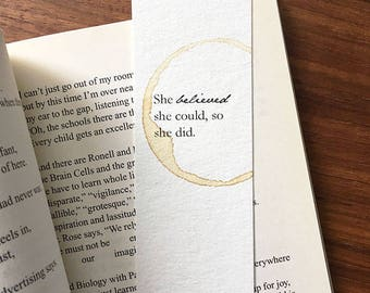 She Believed She Could So She Did Bookmark, Bookmark for Her, Paper Bookmark, Gift for Reader, Gift for Book Lover, Gift for Her