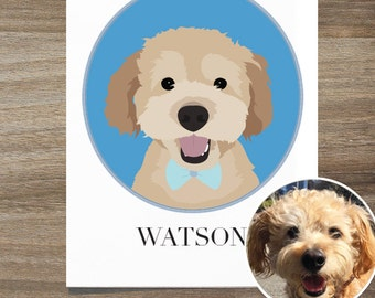 Custom Dog Portrait, Dog Lover Gift, Pet Portrait, Custom Pet Portrait, Custom Dog Art, Dog Portrait,  Dog Dad Gift, Personalized Dog Art