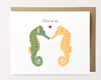 Seahorse card, Seahorse Anniversary Card, Animal Anniversary Cards, Valentine's Day Card, Cute anniversary card for him, Love card for Her