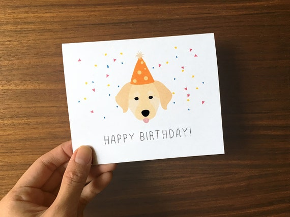 Dog Birthday Card Golden Retriever Birthday Card Cute Etsy