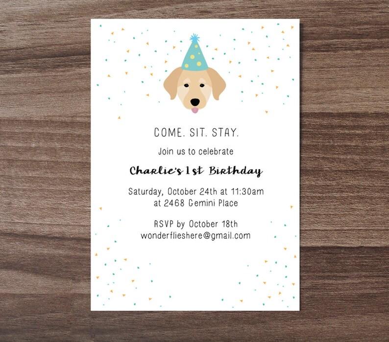 Custom Dog Theme Birthday Invitation Childrens Invite Cute Baby Puppy