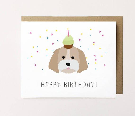 Shih Tzu Birthday Card Shih Tzu Card Shih Tzu Art Dog Etsy
