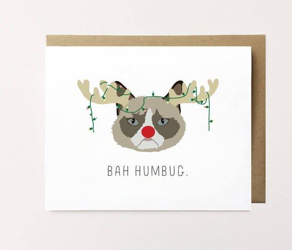 Cat Christmas Card Bah Humbug card Grumpy Cat Christmas | Etsy