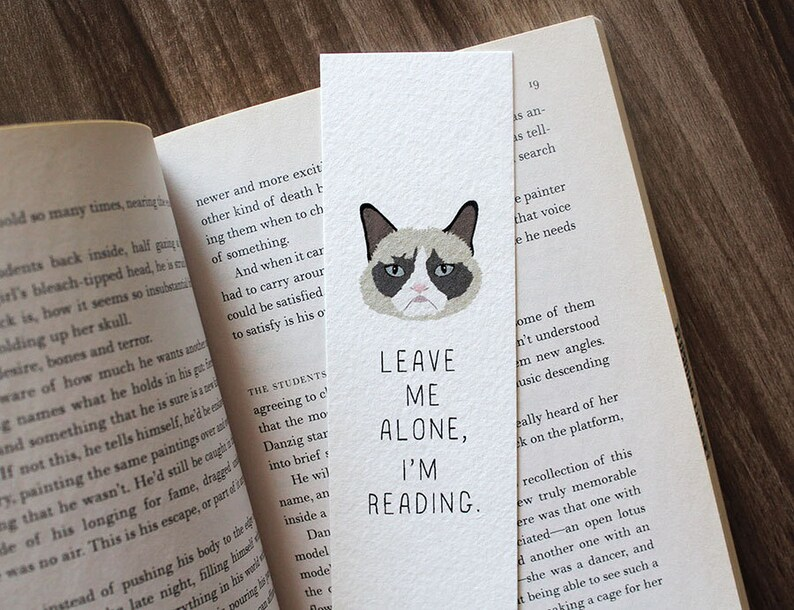 Funny bookmark Grumpy Cat Bookmark Leave me alone bookmark image 0
