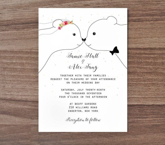 bear wedding invitation cute wedding invite bear wedding etsy