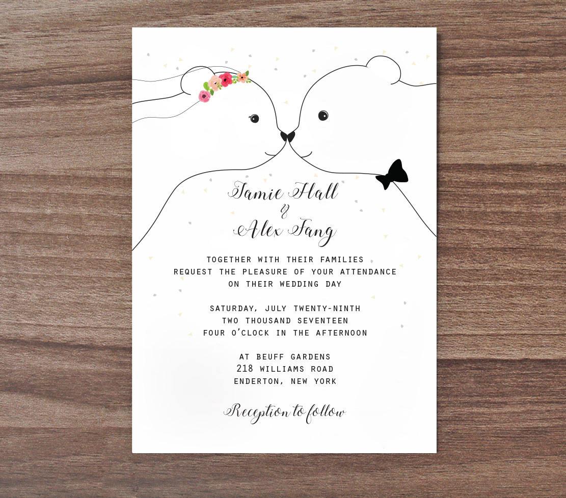 Cute Wedding Invitation: Bear Wedding Invitation Cute Wedding Invite Bear Wedding