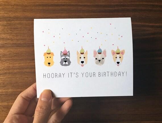 Dog Birthday Card Cute Birthday Card Dog Greeting Card Dog Etsy
