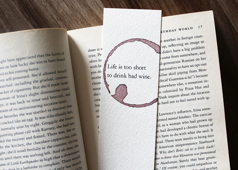 Wine Lover Gift Life Is Too Short To Drink Bad Bookmark