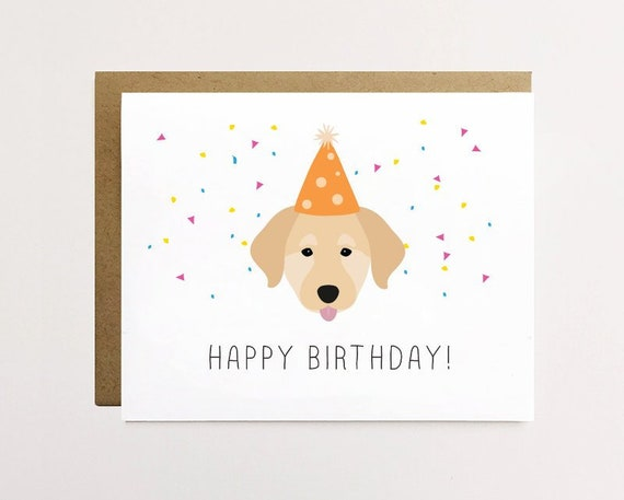 Dog Birthday Card Golden Retriever Cute Labrador