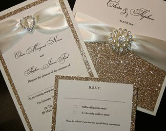 Champagne gold glitter wedding invitations luxury handmade