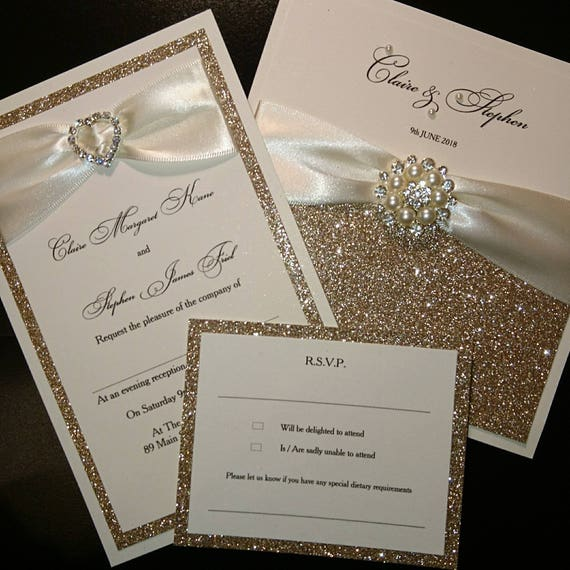 Champagne Gold Glitter Wedding Invitations Luxury Handmade Etsy