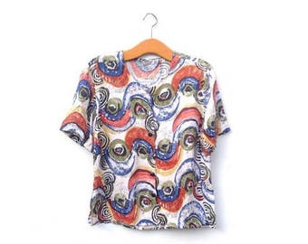 90's Arty Blouse | Abstract | Grunge | Fish Eyes