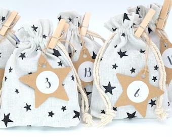 24 Fabric Bags Stars Advent Calendar 95 x 135 mm Garland Star Pendant Sticker Brackets