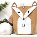 Advent Calendar Foxes DIY WHITE for Men Kids with Brackets Sticker Yarn