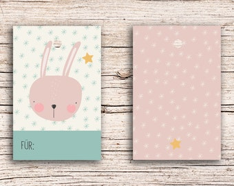 10 x Rabbit - For... - Gift Tag Hangtags 5,5 x 8,5 cm with perforation